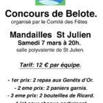 Concours de Belote Samedi 7 Mars à 20H00 en salle polyvalente de Saint-Julien-De-Jordanne. Venez nombreux!